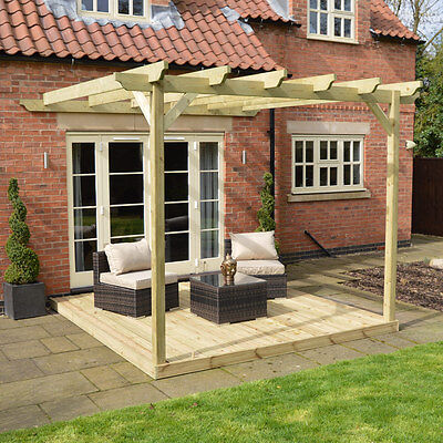 Wall Mounted Wooden Pergola and Decking Kit - 3 sizes available