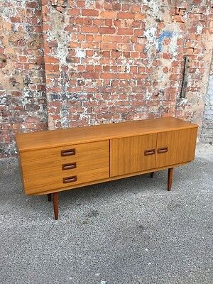 Retro Vintage Teak Effect Laminate Long Sideboard - Dining Room Cabinet