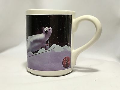 Coca Cola Polar Bear Coffee Mug 1996 Polar Bear Skiing Gibson New Condition