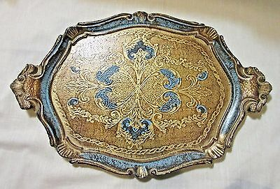 Vtg Florentine Hand Made/Decorated Wood Gilt/Tole Tray - Gold & Blue - Italy