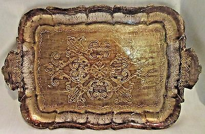 Vintage Florentine Hand Made Rectangular Wood Gilt/Tole Tray - Gold - Italy