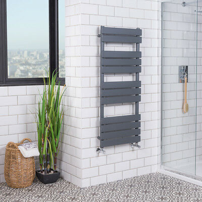Grey Designer Flat Panel Towel Rail Radiator Bathroom Warmer 1200x500 mm Juva
