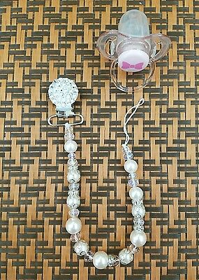 New Handmade Swarovski Crystal Baby Girls Pacifier Clip Holder Bids Cute