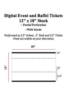 "Digital Raffle and Event Tickets Partial Perforation of 12"" x 18"" Stock"