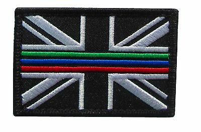 Triple Thin Blue Green Red Line Emergency Service Union Jack Patch Badge LARGE