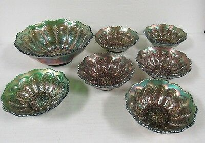 Antique Fenton Peacock Tail Carnival Glass Berry Bowl Set in Green C721