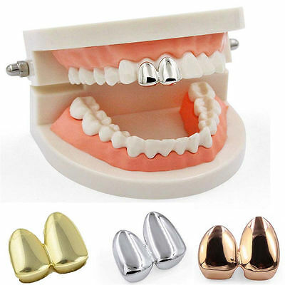 Double Cap Grillz Plain Canine Bling Two Tooth Hip Hop Teeth Grills Plate *U.K*