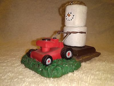 man cutting grass S'mores Xmas decoration with lawn mower