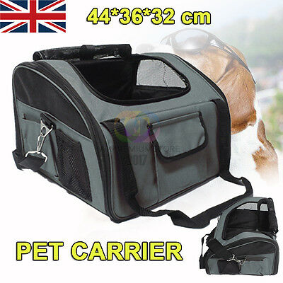 Puppy Dog Cat Pet Car Seat Carrier Cage Booster Cage Travel L Size Luxury Gray