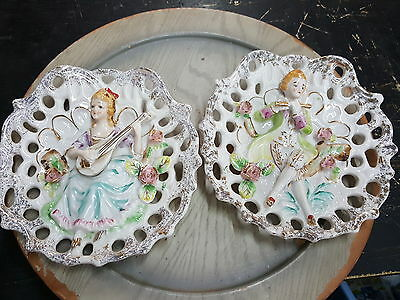 Pair Of Vintage Antique Victorian Ceramic Man & Lady Wall Pockets