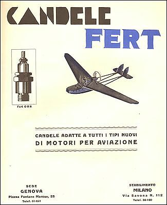 Advertising' Candles Fert Or8 Engines Aviazione Airplanes Genoa Milano 1928