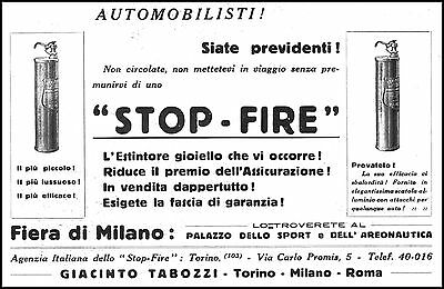 Advertising' Fire Extinguishers For Car Stop Fire T Insurance Fair Milano 1927