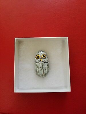 Miniature Owl Hand Painted on a rock artist V.Kovtun / amazing gift