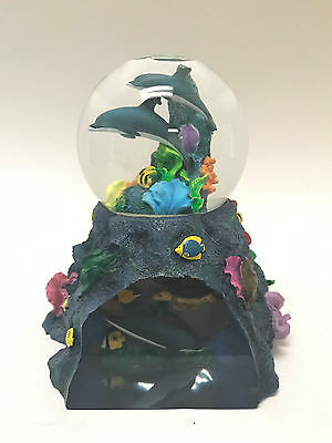 "Wyland Dakin Collectible Dolphin Musical Snow Globe  ""Undersea Treasures"""