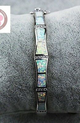Stunning 925 Sterling Silver Fire Opal & White Topaz Bangle Bracelet 19cm