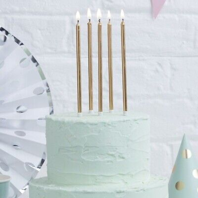 Ginger Ray Tall Candles - Gold or Pink & White Glitter Birthday Celebration 24 P