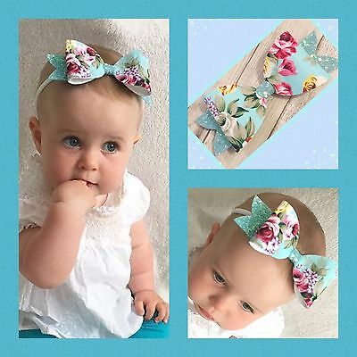 """Floral Summer Large Hair Bow Clip Bobble Baby Band 5.5"""""""