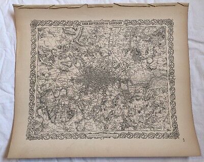 THE ENVIRONS OF LONDON, No 4, Antique Atlas Map 1855 Colton World Maps