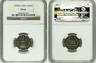 India Republic 1950(B) Anna PROOF COIN NGC PF63 RARE