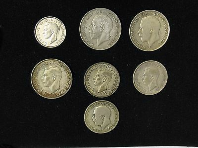 lot of 7 Great Britain silver coins shilling, florin, 1/2 half crown 1920-1942