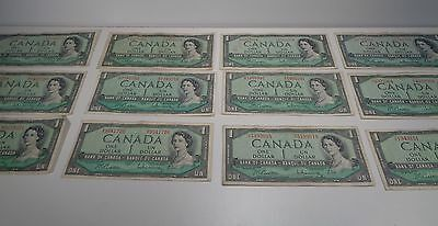 Lot Of 12 Vintage 1954 Bank Of Canada One Dollar Bills