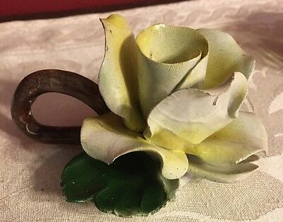 Vintage Capodimonte Porcelain Ceramic Rose Flower Candle Holder