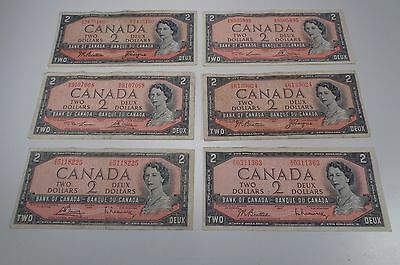 1954 LOT OF 6- $ 2.00 Vintage CANADIAN BILLS CIRCULATED