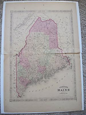 Original 1866 A.J. Johnson's 2 Page County Atlas Map State of ME Maine