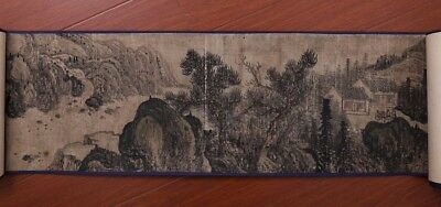 China Old Handwork Landscape Scroll Painting Collection Mark ZhuMengLu PP705