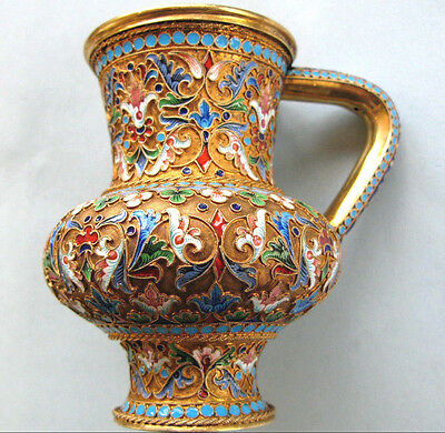 Amazing Imperial Russian Silver Shaded Enamel Jug by Ivan Saltikov
