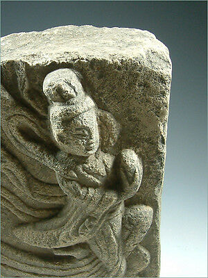 Ancient Carved Stone Flying Apsara Relief ---- Northern Wei Dynasty 386–535 A.D.