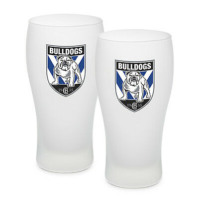 Canterbury Bulldogs NRL Frosted Glass Schooner Beer Glasses Set 2 Man Cave Bar