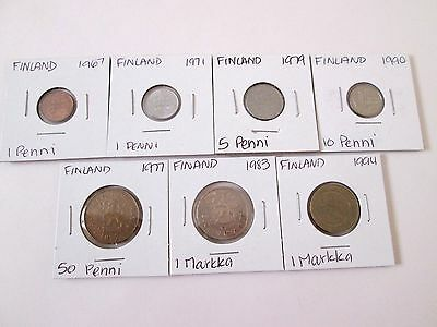 FINLAND    7 coin lot, 1967-1994, circ-unc, carded