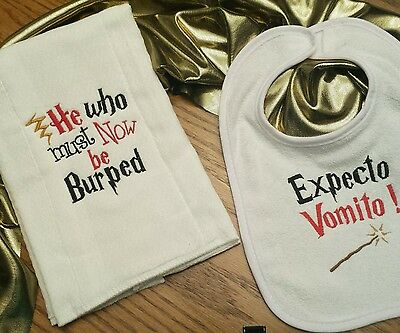 HARRY POTTER BURP CLOTH & BiB BaBy GiFt SeT EMBROIDERED BOUTIQUE ADORABLE!