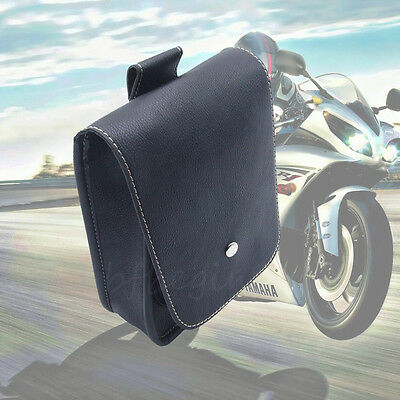 Black Motorcycle Bag PU Leather Side Tool Bags Pouch Storage Luggage For Harley