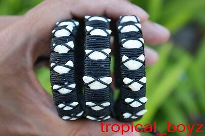 3 Multi SHARK TOOTH Handmade Nylon Leather Bracelets Wholesale Lot