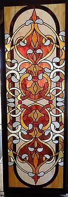 Vintage Stained Glass Door or Window! HUGE! Framed!  6FT TALL!