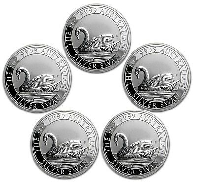 Lot of 5 | 2017 1 oz Australia Silver Swan Coin
