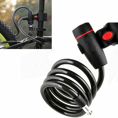 NEW Bike  Steel Wire Chain  Anti-Theft  Safe  Coil Cable Bicycle  Lock  Key