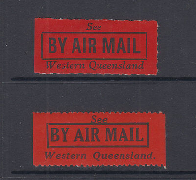 AUST 1926 (-) Black/Red- SEE by AIRMAIL -WESTERN QUEENSLAND-Vignette- Cat $60 (2