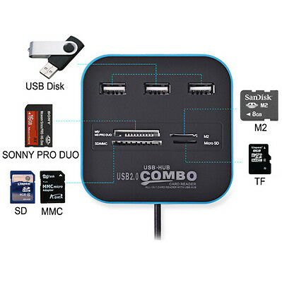 HOT For  For PC MS Hub 2.0 USB Card Reader Combo In One Multi 480Mbps USB