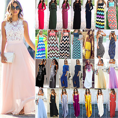 Womens Maxi Boho Floral Summer Beach Long Skirts Evening Cocktail Party Dress US