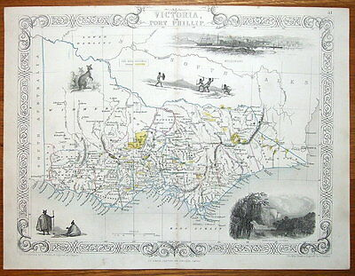 VICTORIA, PORT PHILLIP, AUSTRALIA, RAPKIN & TALLIS original antique map c1850