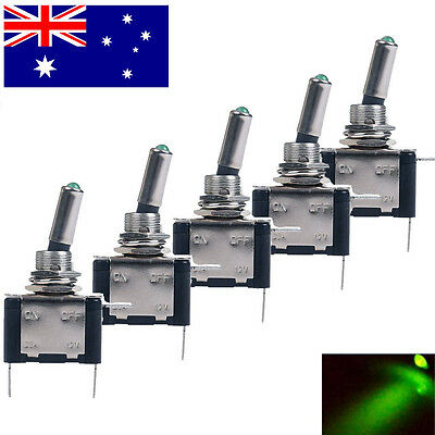 5X Green LED Toggle Switch Car Boat Truck ATV Auto DC Neon 12V 20A ON/OFF SPST