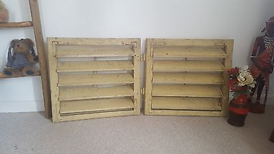 Small VINTAGE WOODEN European window shutters shabby chic primitives