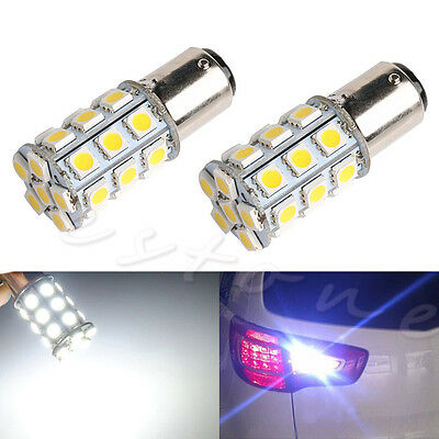2X 1157 Blanc BAY15D P21/5W 27SMD 5050 Voiture 12V LED Queue lampe Freinage Feu