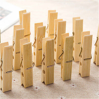 20Pcs Bamboo Clothespins Laundry Clothes Pins Large Spring Regular Size