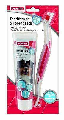 Beaphar Toothbrush Toothpaste Kit 100G Dogs Fresh Breath Dental Treatment Care