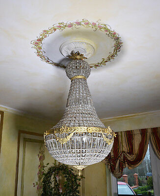 Ceiling Light Chandelier Brass Glass Retro Decorative Shabby Baroque Style
