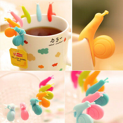 5x Snail Shape Tea Bag Holders Silicone Mug Kitchen Gift Candy Colours Funny